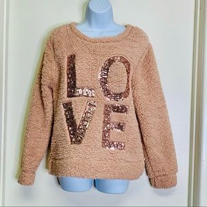 LOVE DUSTY PINK SWEATER SIZE SMALL